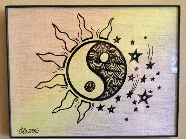 day night ying yang prints multicolored colored pencil paint marker. Black Bedroom Furniture Sets. Home Design Ideas