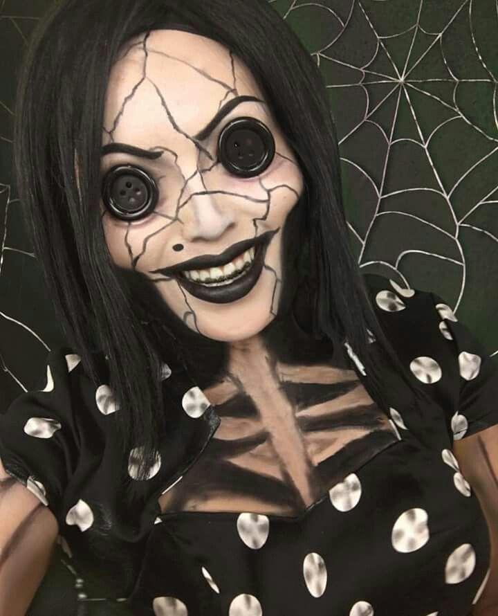 Diy Coraline S Other Mother Halloween Costume Idea 5 In 2020 Halloween Makeup Halloween Costumes Makeup Halloween Makeup Scary
