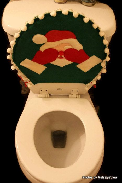 Vintage Christmas Santa Toilet Seat Cover Hiding Eyes By RayMels