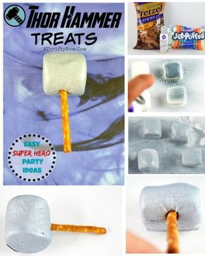 Thor Hammer pops, Super hero themed birthday party ideas, Easy dessert ideas for boys, avengers party ideas
