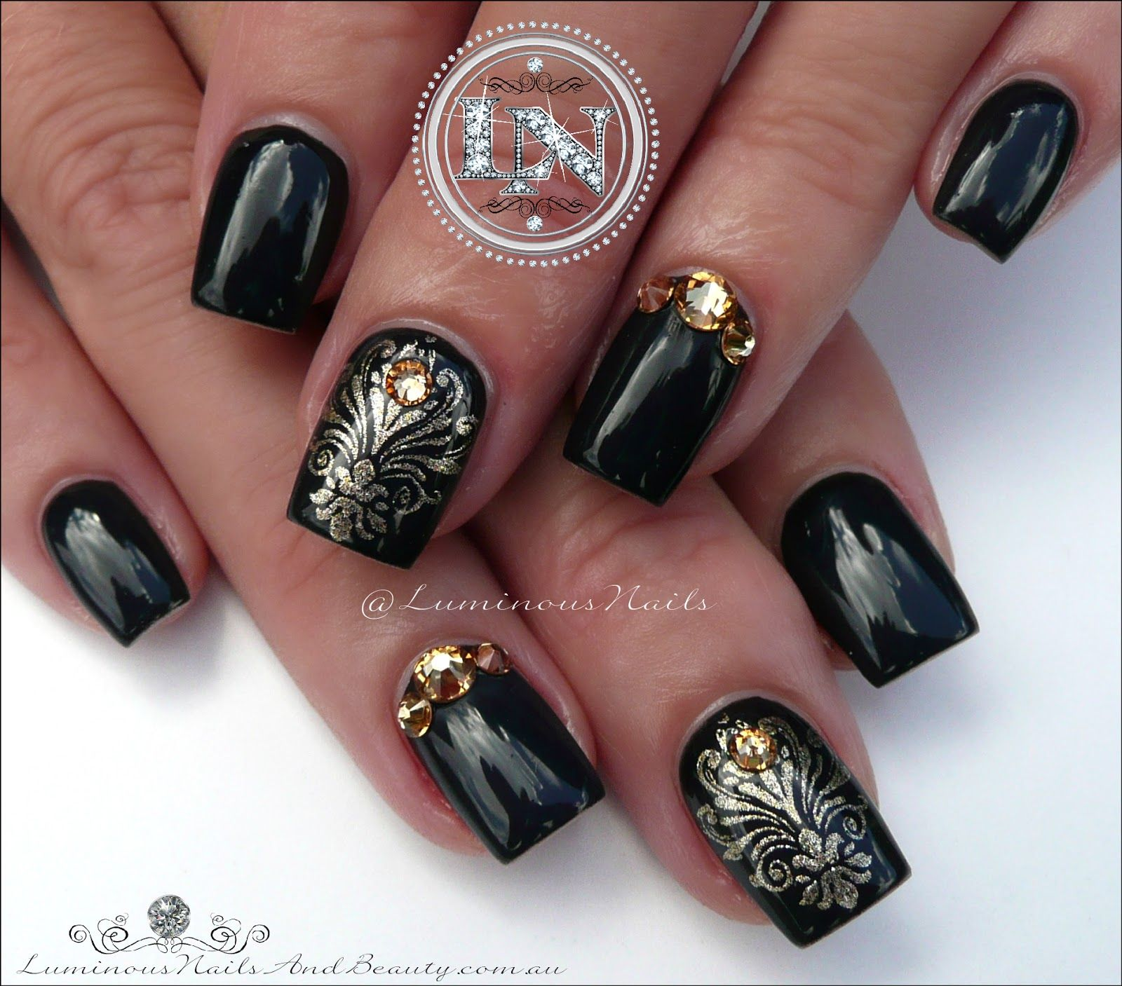 Luminous Nails: Glossy Black Nails with Damask Stamping... Acrylic & Gel Nails.