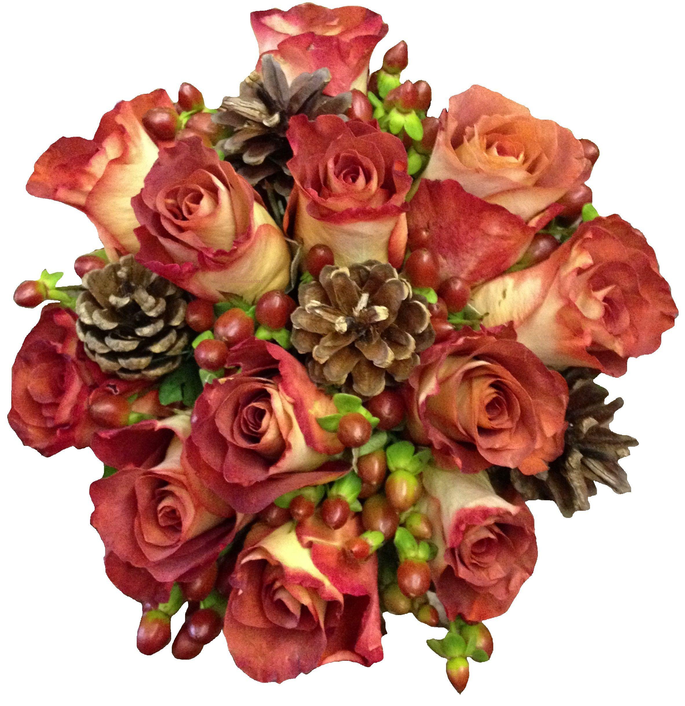 Wedding Flowers Lincoln: Leonardis Roses, Hypericum And Pine Cones