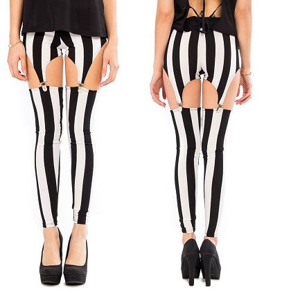 Sexy Punk Rock Striped Black White Garter Leggings Full Length Ankle Pants | eBay