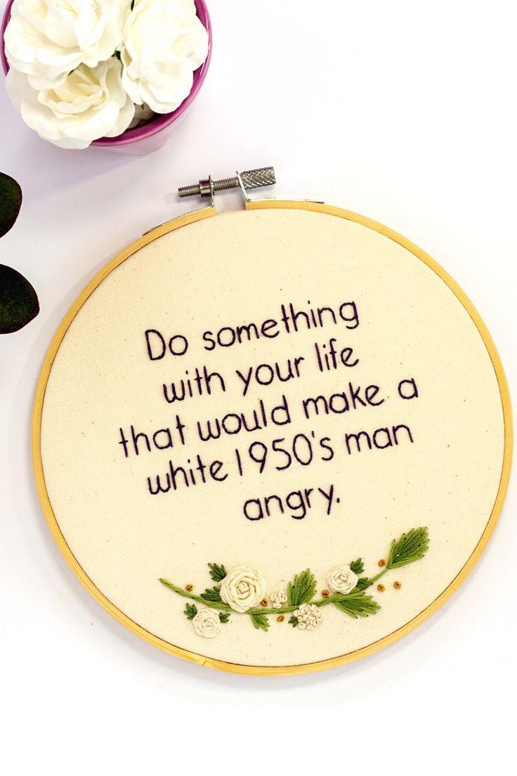 Feminist Quote, Feminist Embroidery - The Femme Bohemian - Deringa