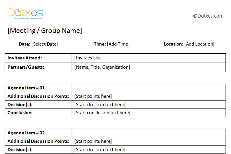 GeneralMeetingMinutesTemplateWithTableFormatFeatured - Table of organization template