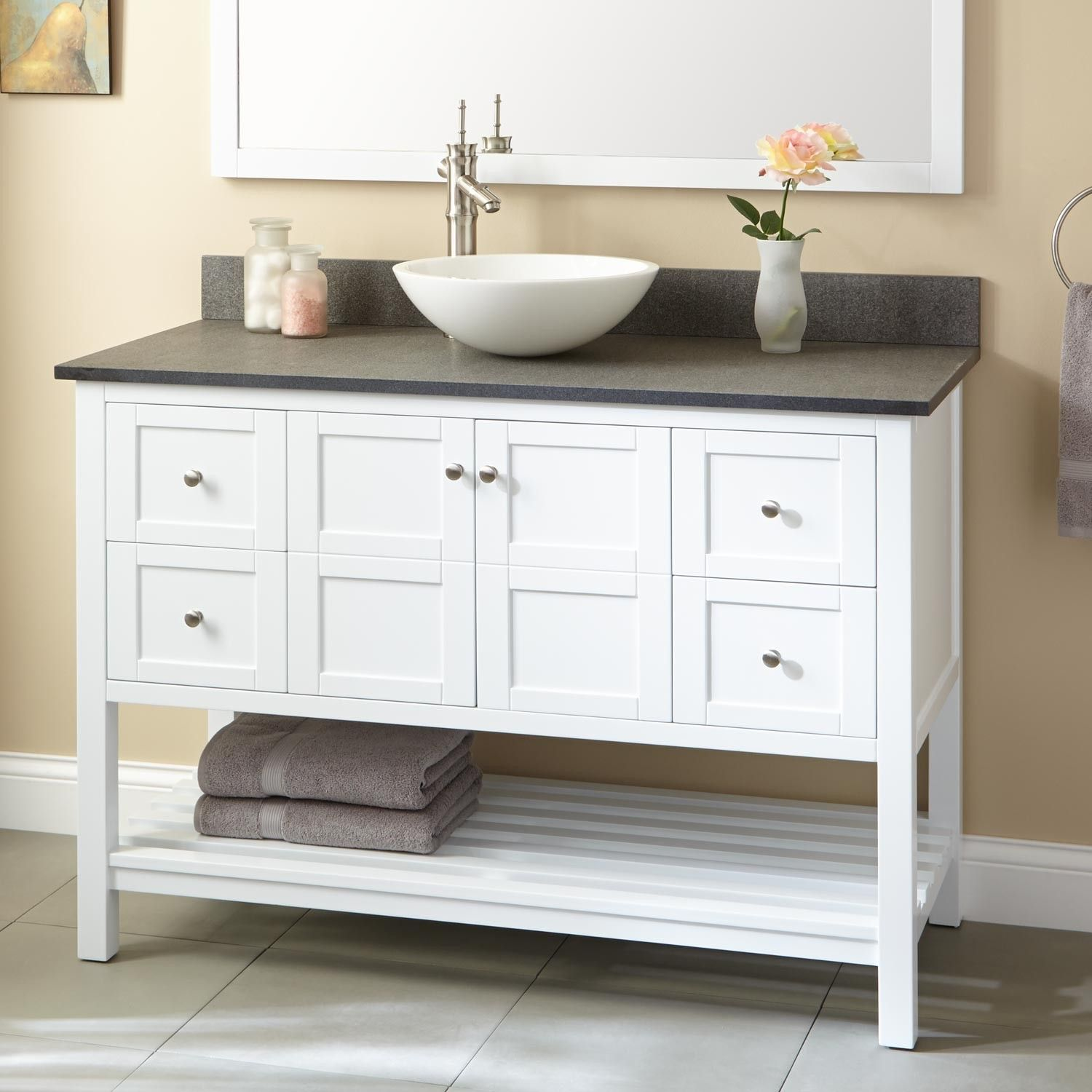 48 everett vessel sink vanity white discover more