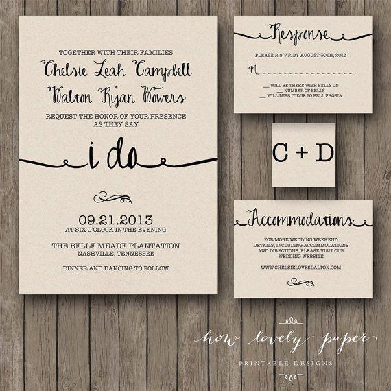 Printable Wedding Invitation Suite The Ella By HowLovelyPaper - Wedding invitation templates: facebook wedding invitation template