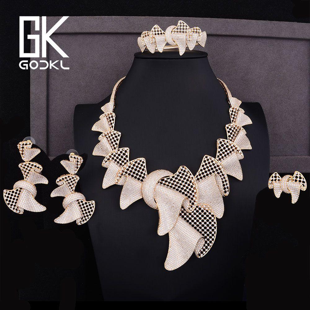 04dc2c051f GODKI Luxury Bowknot Design Cubic Zirconia NigerianBridal Jewelry set For  Women dubai gold jewelry sets indian
