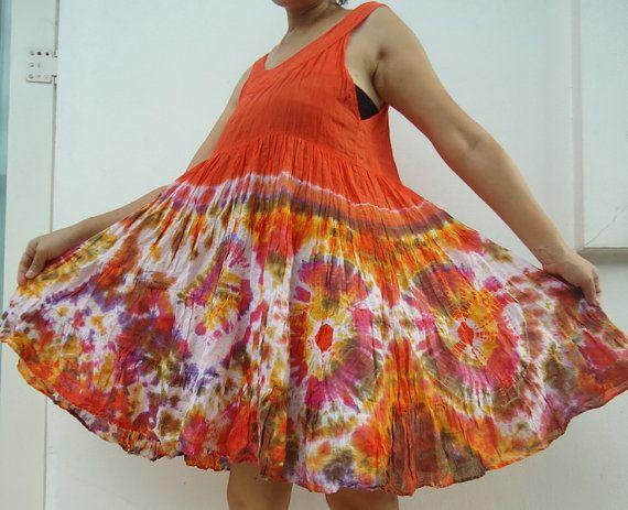 Cotton Orange Tie Dye Orange mini dress/top