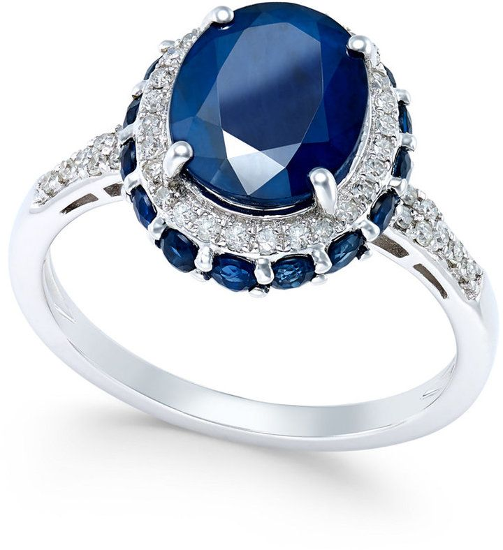 Macy S Blue Sapphire 4 Ct T W And White Sapphire 1 3 Ct T W Oval Ring In 10 Engagement Ring White Gold Sterling Silver Jewelry Rings White Gold Rings