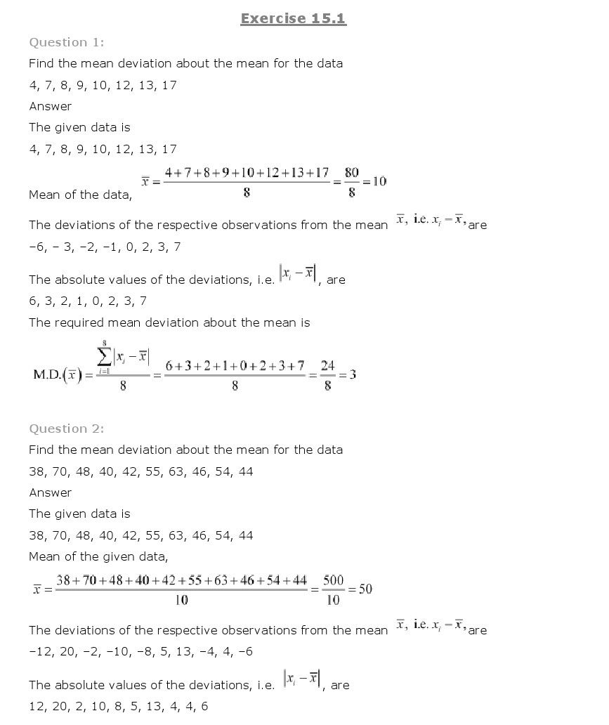 NCERT Solutions for Class 11th Maths: Chapter 15 - Statistics | test ...