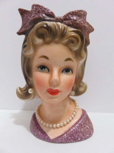 Relpo Teen Lady Head Vase W Earrings Necklace Pink Bow K6196