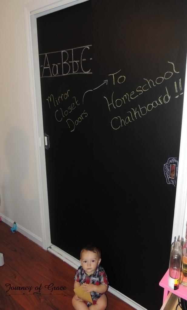 From Mirrored Closet Doors To Homeschool Chalkboard Mirror Closet Doors Closet Doors Bedroom Closet Doors