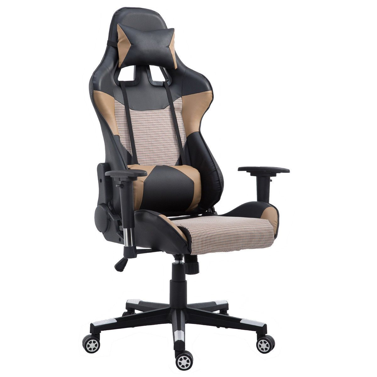 Brown high back gaming racing chair w lumbar support