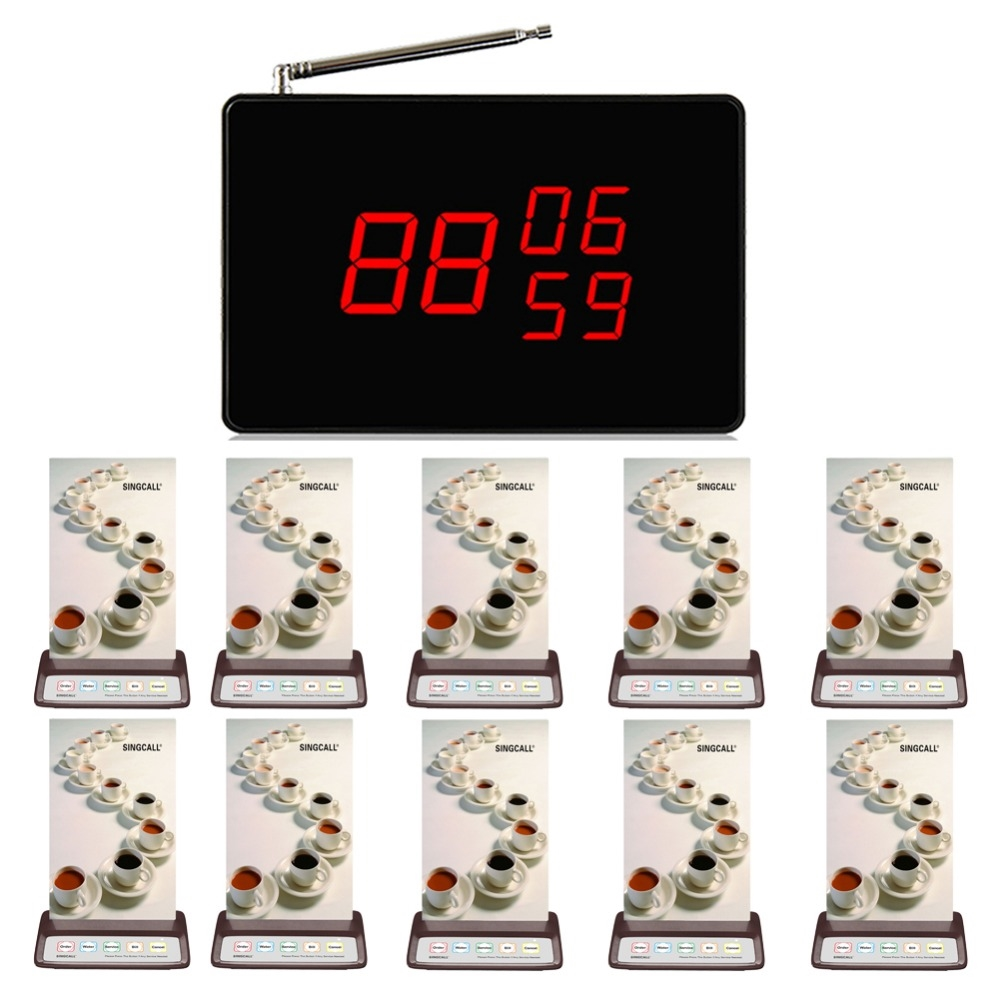 218 89 Watch Here Singcall Wireless Emergency Call System Waiter Service Calling 10 Pcs Restaurant Pager 1 Pcs Call R Call System Pagers Emergency Call
