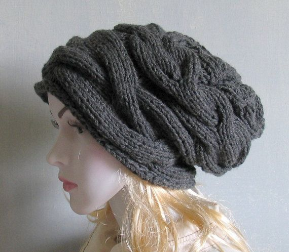 Slouchy Hat Slouchy Beanie Cable Hand Knit Winter Women Hat slouchy ...
