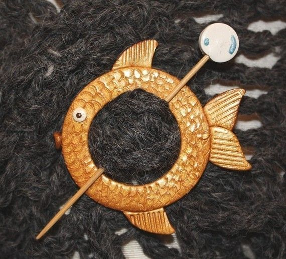 Shawl Pin Gold Fish Polymer Clay by WireDreamsDesign on ...