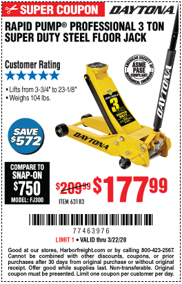 Harbor Freight Low Profile Jack Coupon : harbor, freight, profile, coupon, DAYTONA, Profile, Super, Rapid, Floor, 7.99, Harbor, Freight, Tools,, Profile,, Coupon