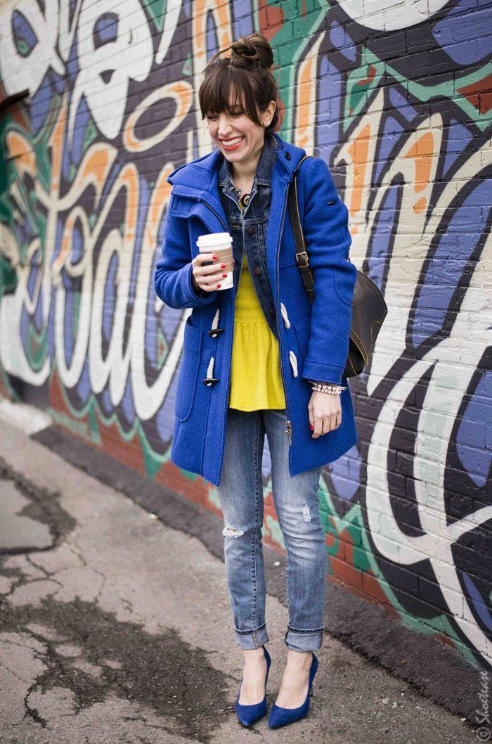 Toronto Street Style - Yellow Peplum Cobalt Heels Jeans Denim