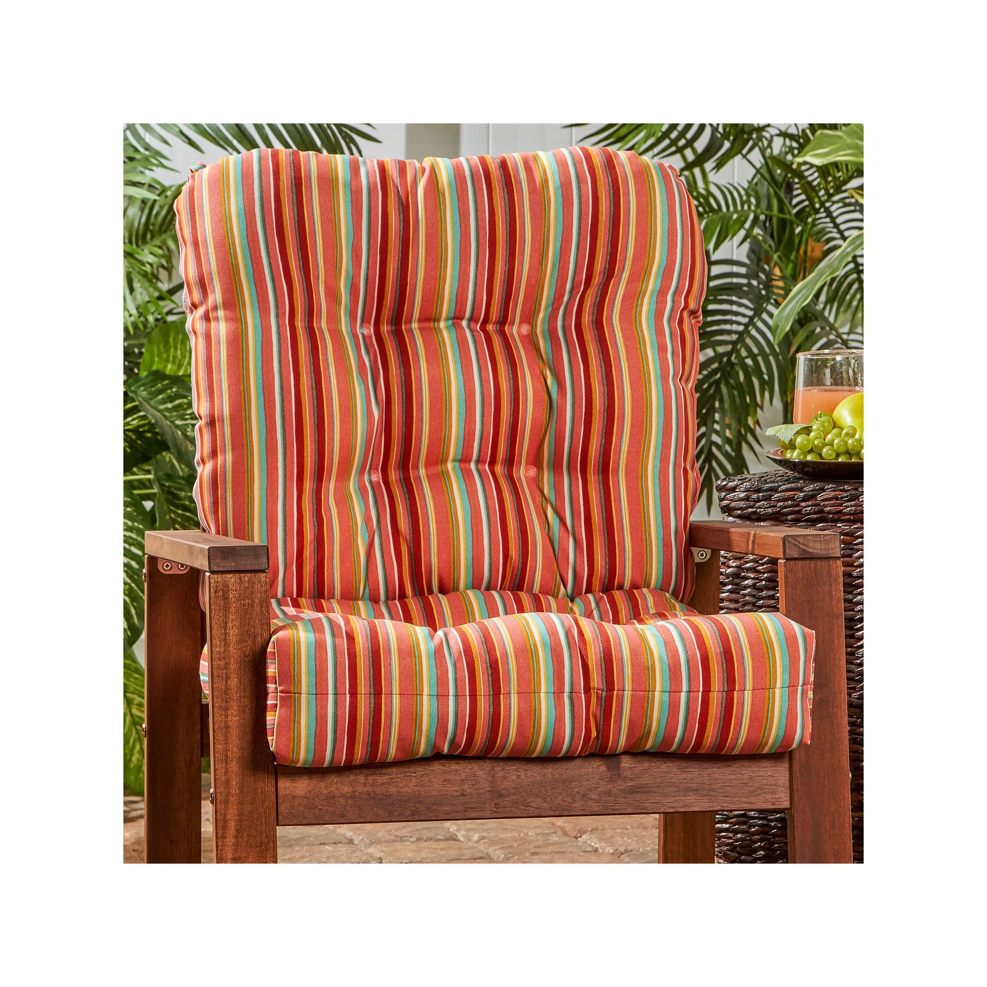 Greendale Home Fashions Outdoor Seat Back Chair Cushion Red