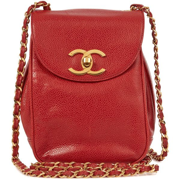 Chanel Vintage Small Grained Leather Shoulder Bag Found On Polyvore Red Pinterest Bags And
