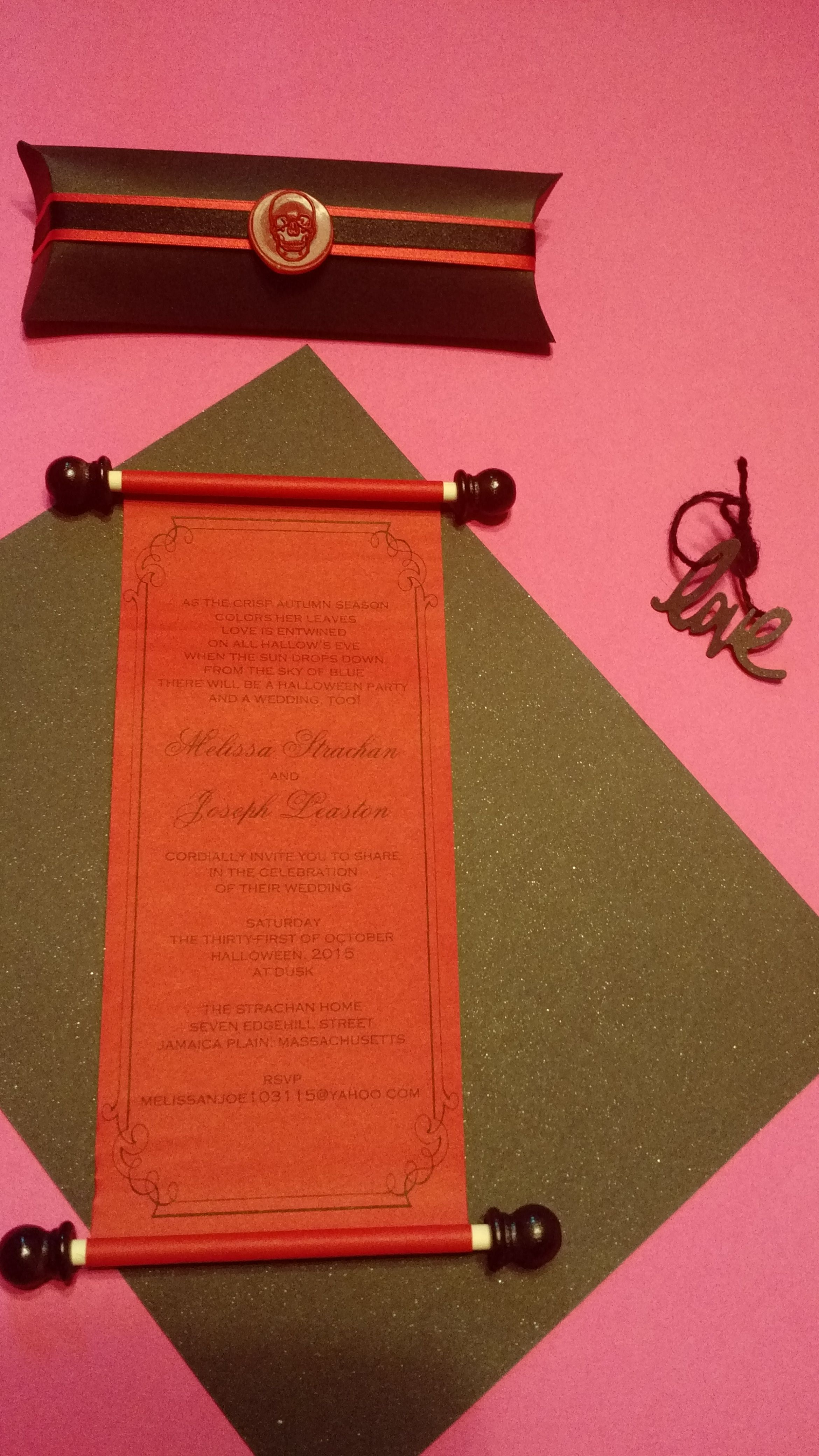 scroll wedding invitation with custom pillow box and skull wax seal ...