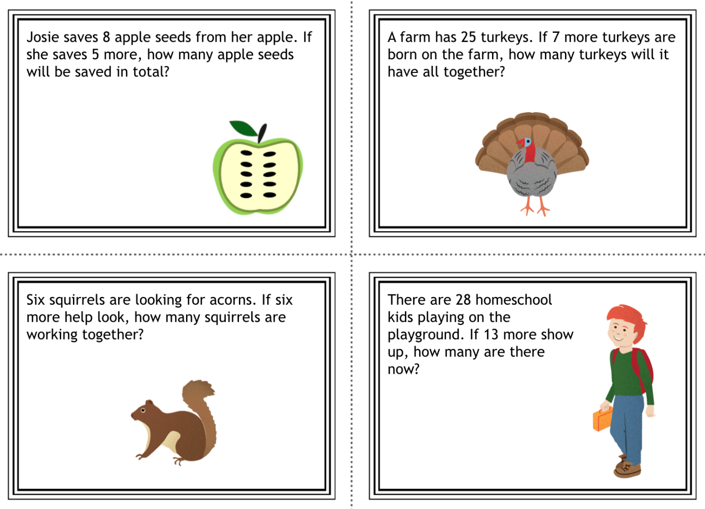 Fall Addition Word Problem Printable Freebie