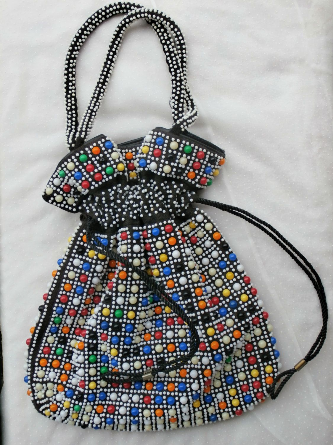 Colorful Vintage Plastic Bead Bag, Purse Black with Multi Color Beads by  MendozamVintage on Etsy