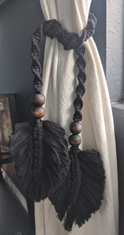 Handmade Boho black feather macrame curtain tie back