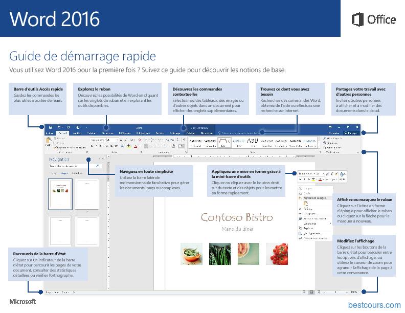 Word 2016 Guide de démarrage rapide Word office