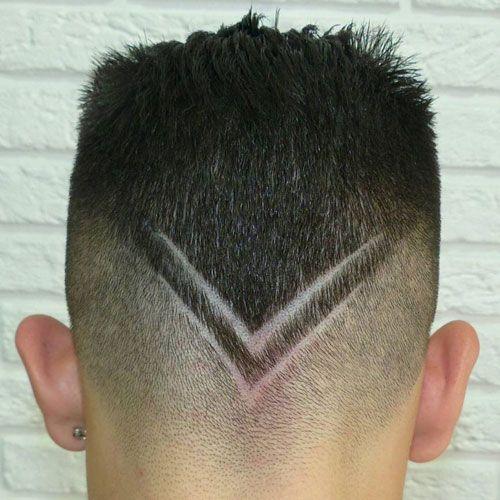 Slicked Back Hair + V Shape Design
