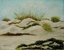 Florida Sea Oats on Sand Dunes Oil on Canvas Gloria at rubylane.com