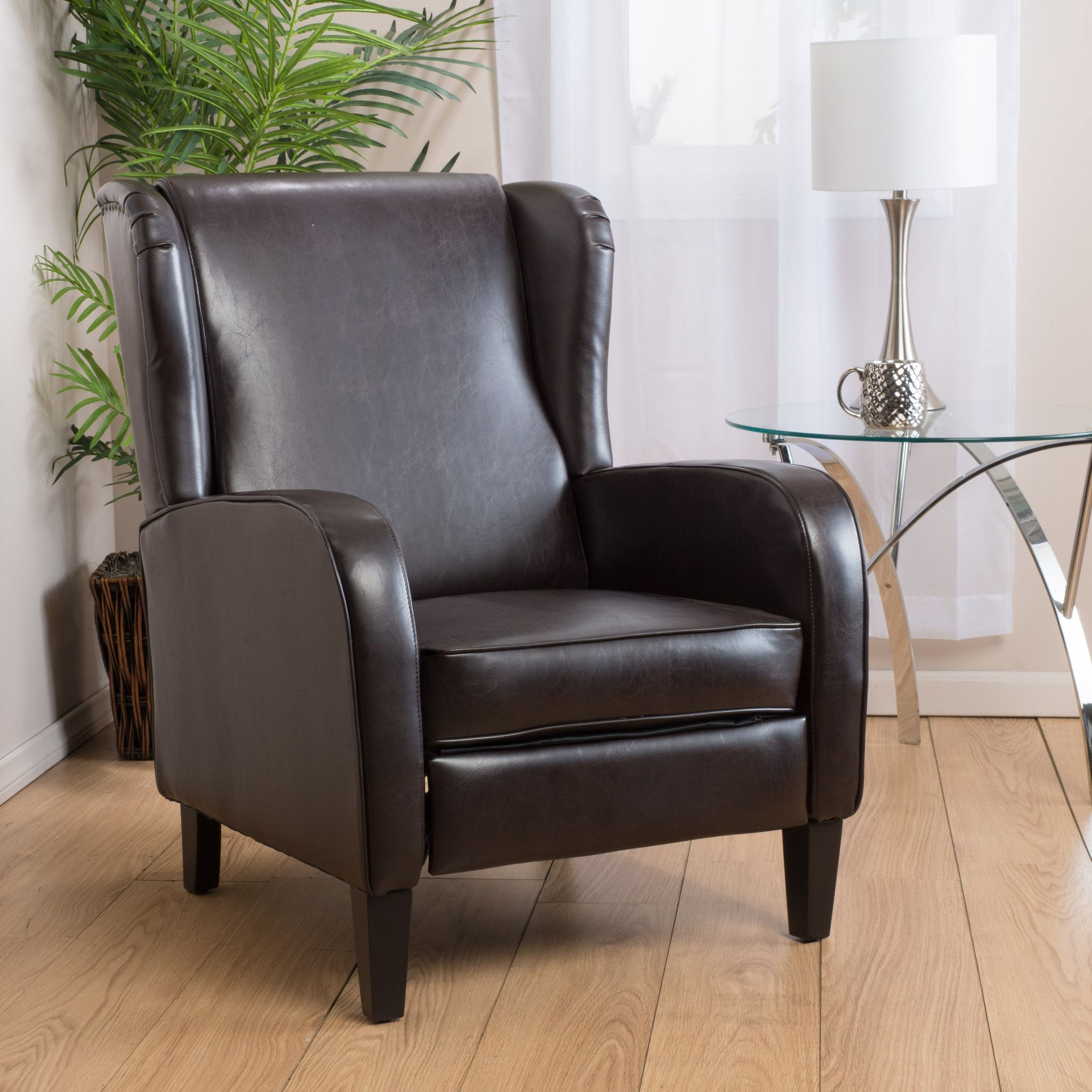 Hadley Espresso Leather Wingback Club Chair Recliner Chairs