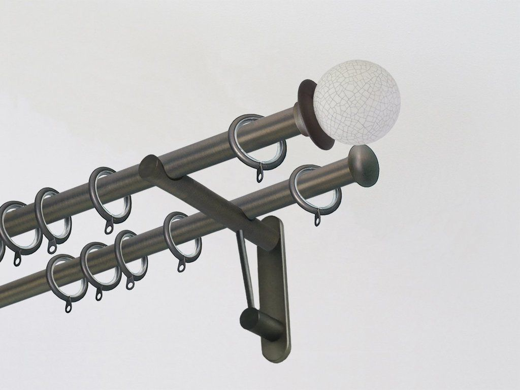 19mm Brushed Bronze Double Metal Curtain Pole With Ceramic Crackle