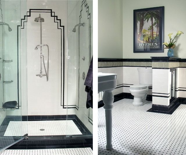 remarkable art deco design for art deco interiors with black and white color schemed also classic shower head also modern glass door shower and white modern