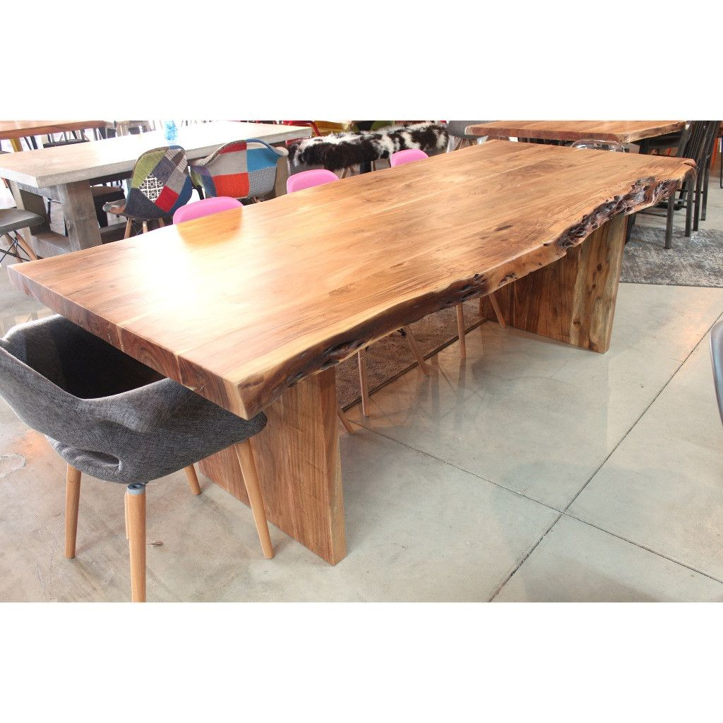Acacia live edge table with wooden plank legs wazo furniture