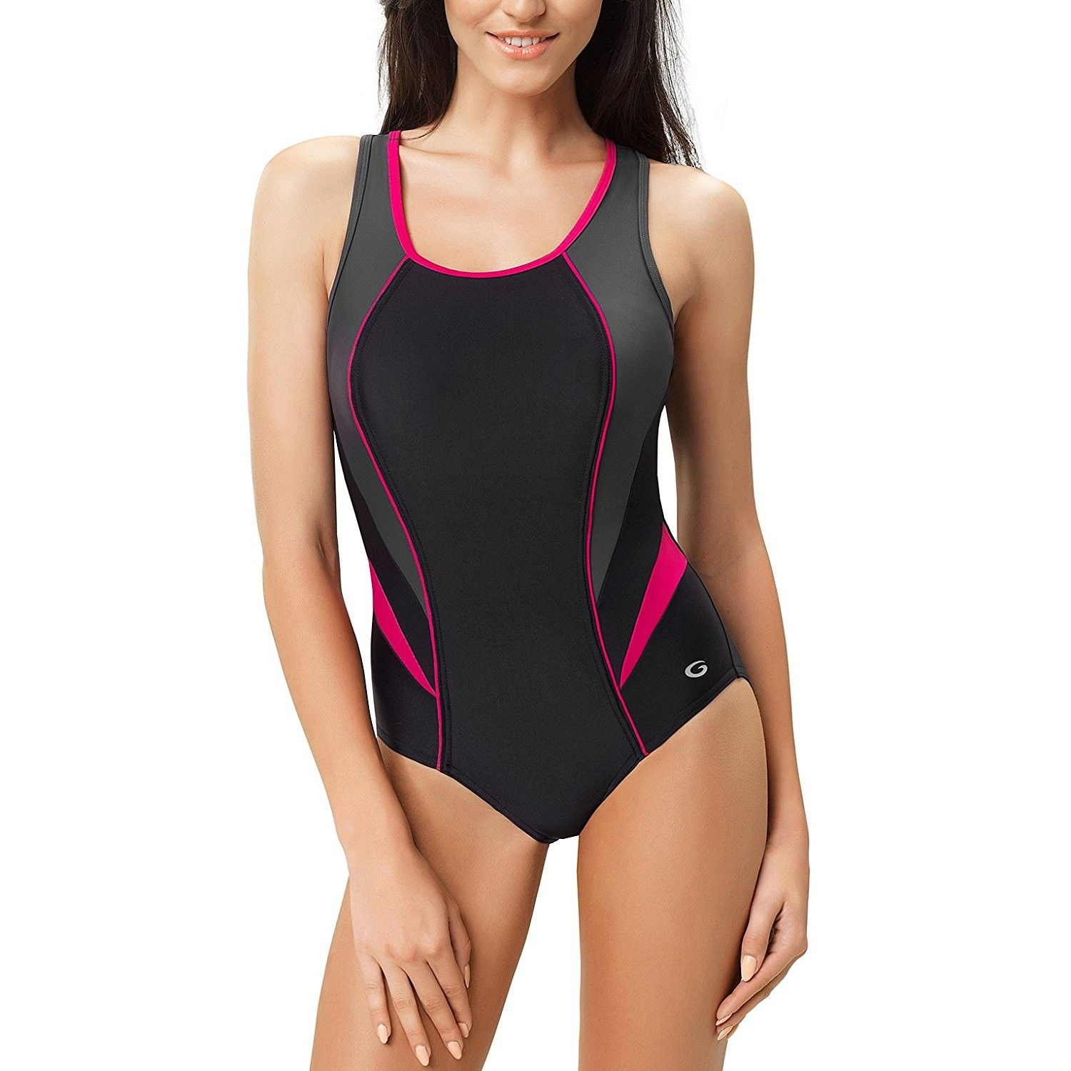 e892c2de9d Women's Ivana One Piece Padded Athletic Swimsuit - black/graphite/fuchsia -  CC1887LTHIX,Women's Clothing, Swimsuits & Cover Ups, Racing #women  #clothing ...