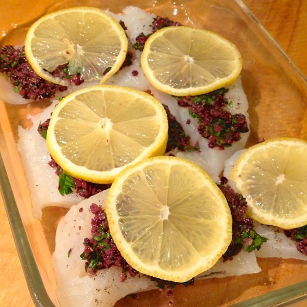 Baked Cod with Sun-Dried Tomato, Caper and Olive Tapenade - The Lemon Bowl