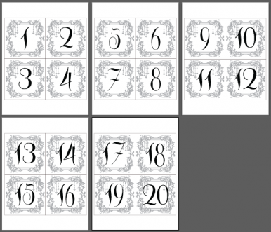 black charcoal table number cards 1 20 print your own immediate