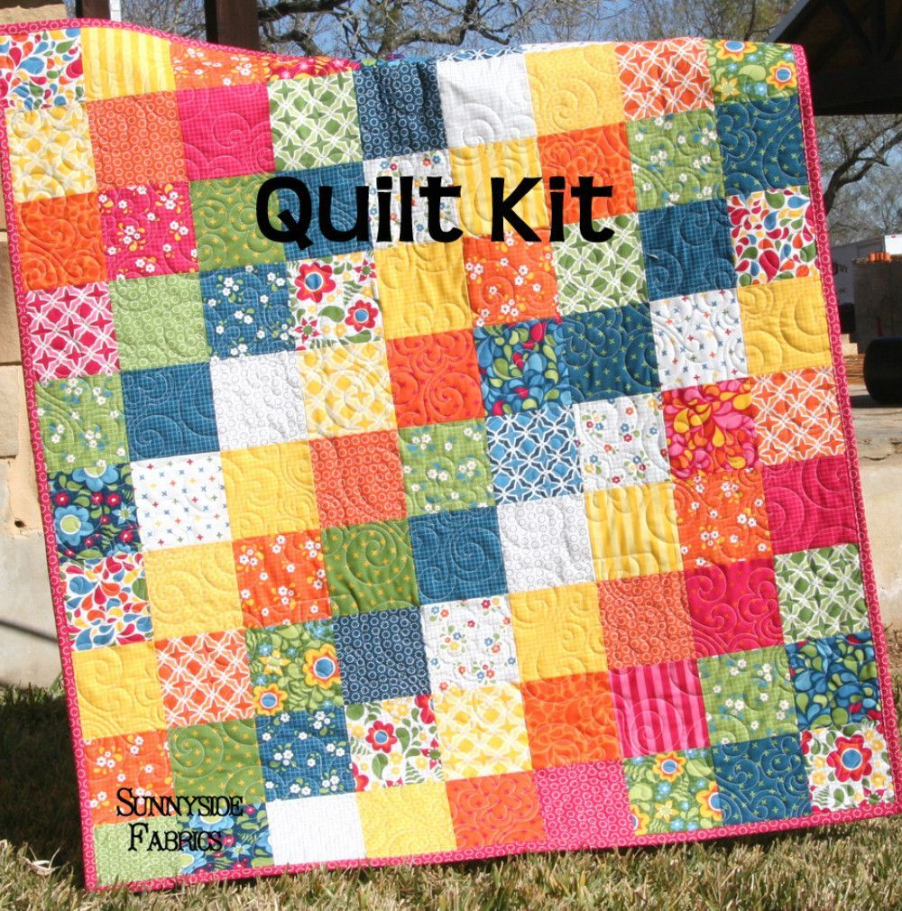 Best day ever patchwork baby quilt kit simple quick easy for Childrens quilt fabric