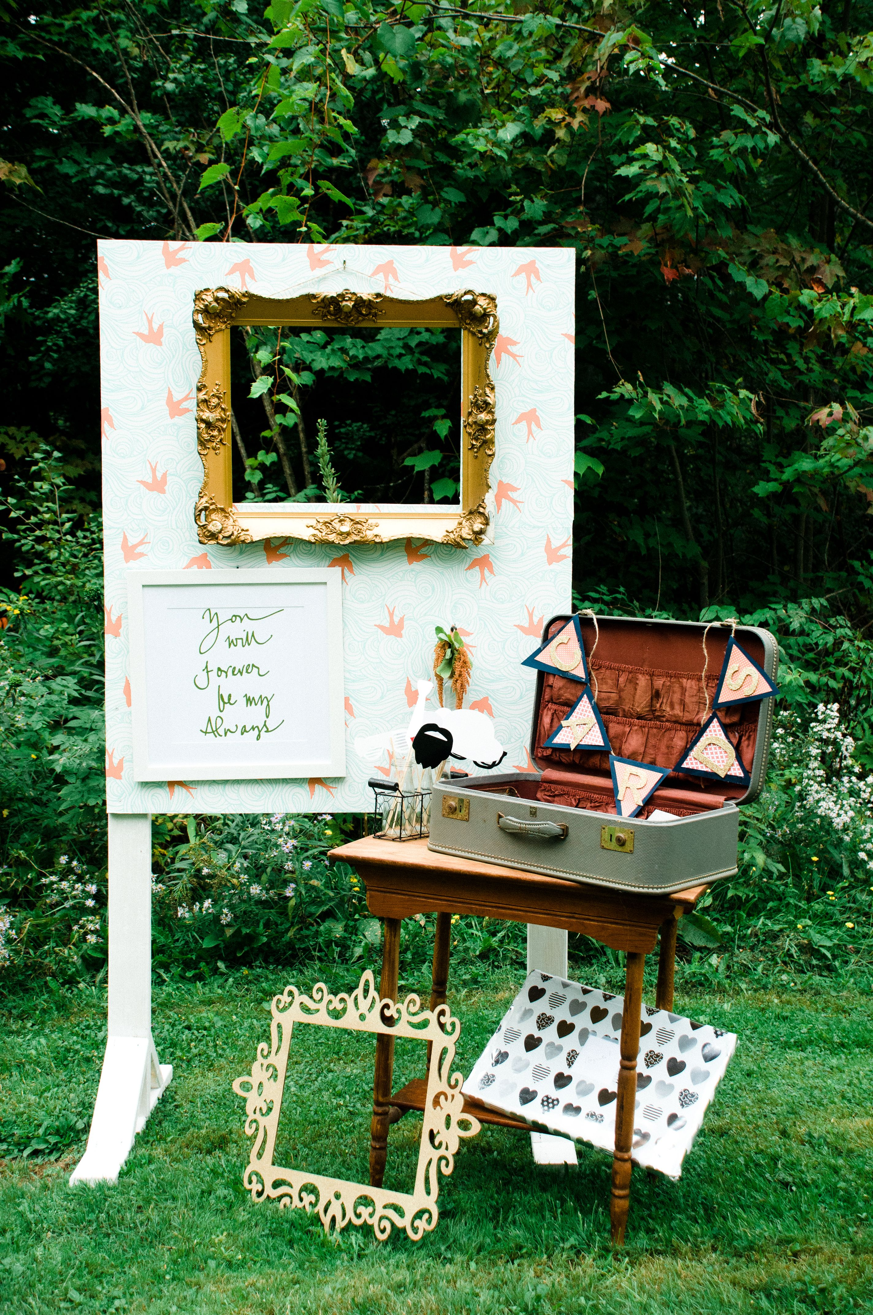 Wedding Photography Booth Ideas.Rustic Outdoor Gold Blue And Orange Wedding Photo Booth Ideas