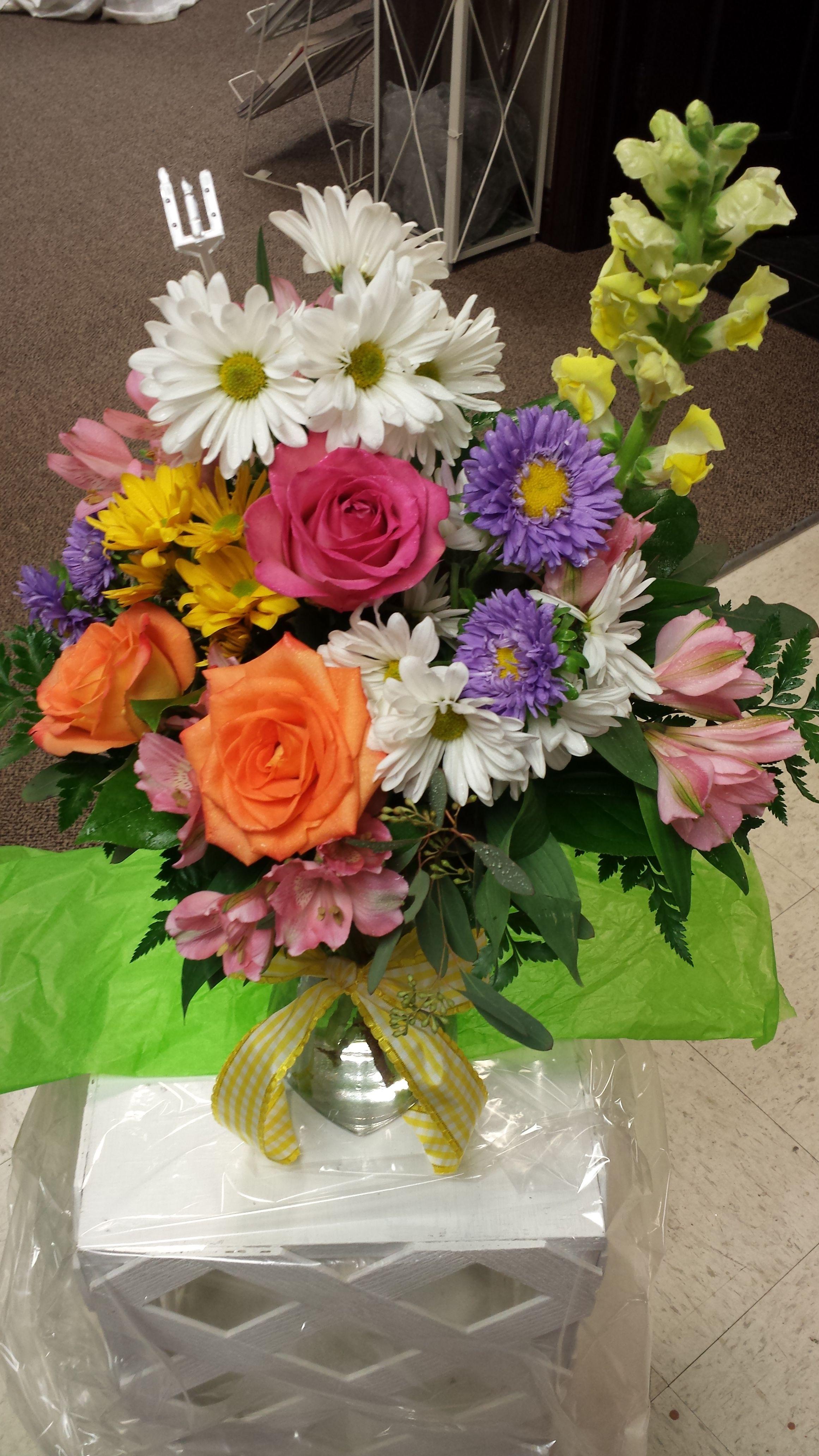 Roses, Alstromeria, Matsumoto Asters, Snap Dragon and Daisies ...