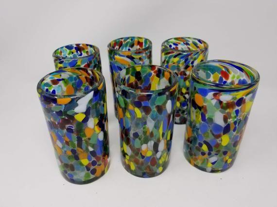 6 Hand Blown Water Glasses – Clear Confetti