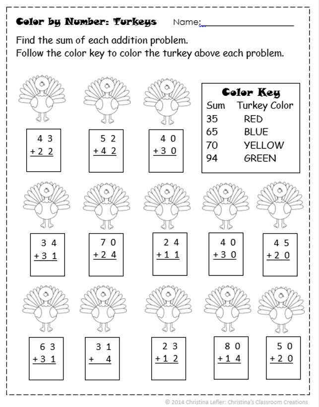 thanksgiving turkey double digit addition color by number tpt free lessons math doubles. Black Bedroom Furniture Sets. Home Design Ideas