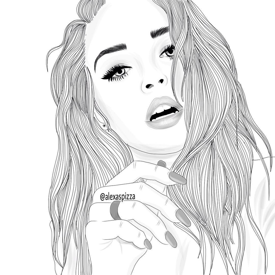 Line Drawing Girl : Outlines style tumblr girl alexaspizza