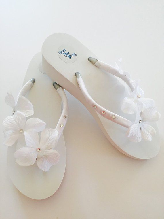 a19a93d35 WHITE Bridal Flip Flops.Wedding Flip Flops.Wedged Flip Flops. Bride ...