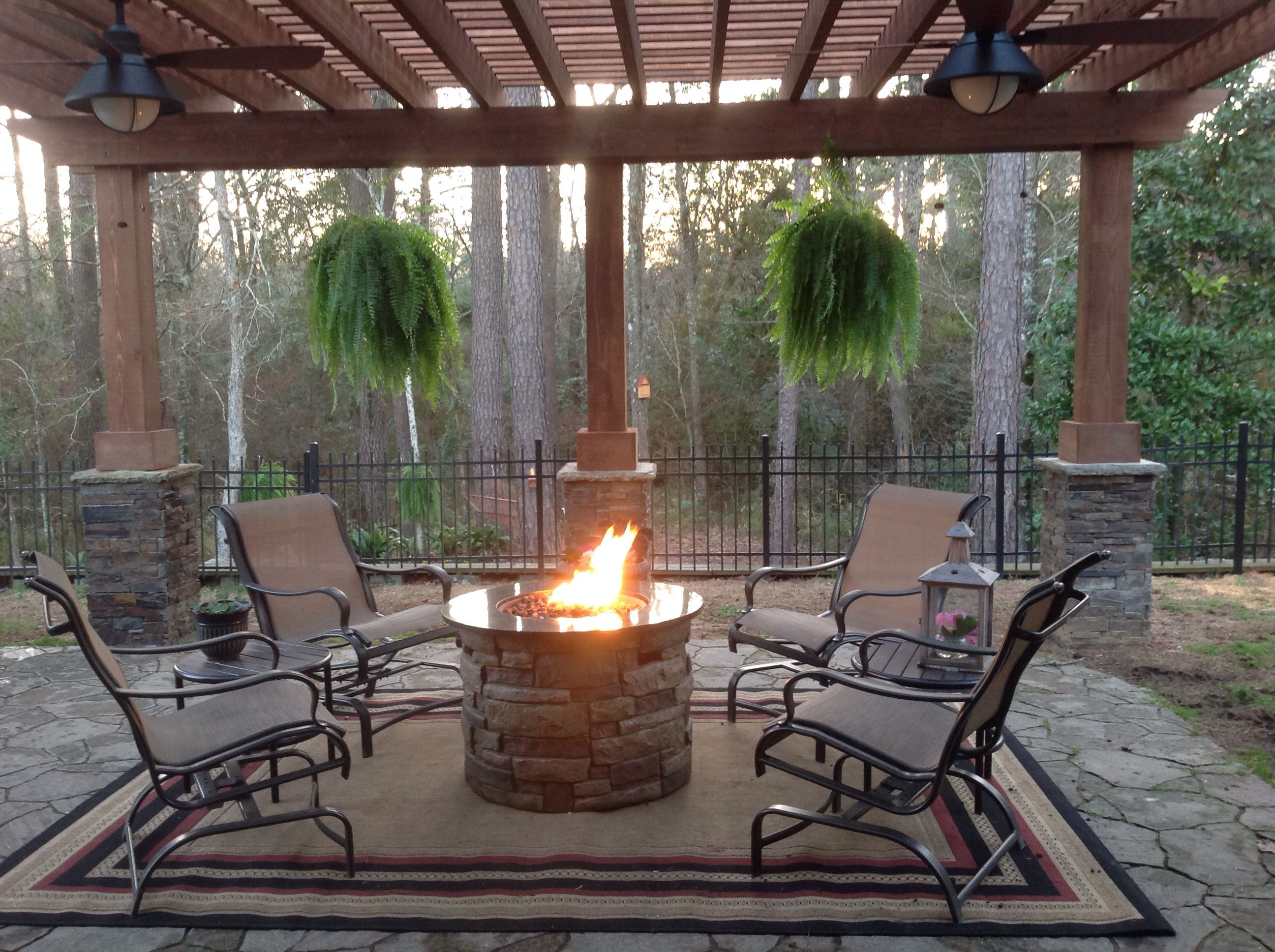 Our Sanctuary Pergola Fire Pit And Lots Of The Outdoors Fire Pit Pergola Pergola Pergola Cost