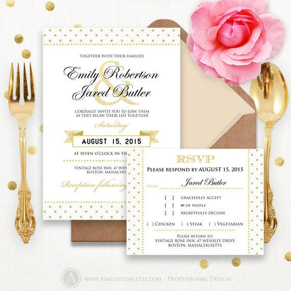 Places To Print Wedding Invitations: Printable Gold Weddings Invitation + RSVP Card