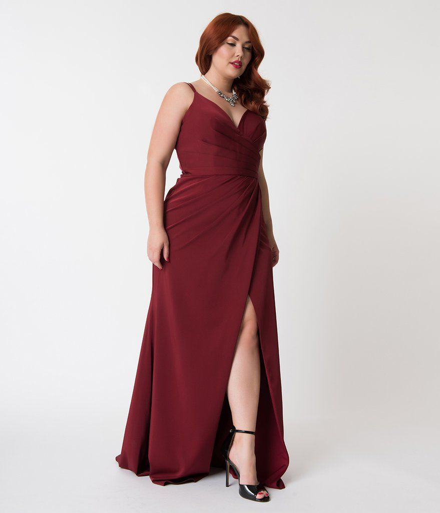 Plus size burgundy red sexy pleated long dress clothes u beauty