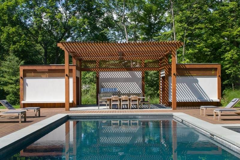 sitzplatz im garten gestalten - pergola auf der terrasse neben dem, Gartenarbeit ideen